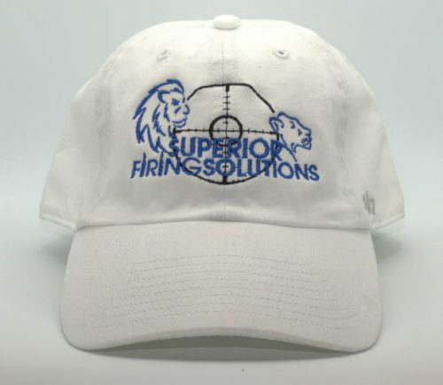 superior firing solutions cap in white- front view