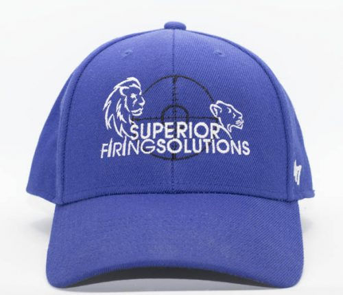 superior firing solutions flexfit cap in royal blue - front view